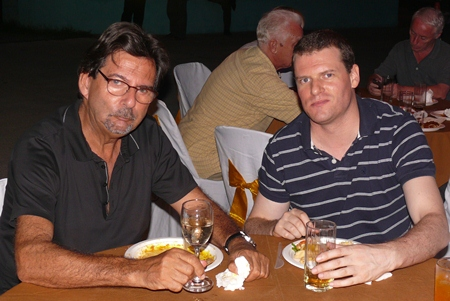 Lex Granaada and Dylan Counsel enjoy the opening party.