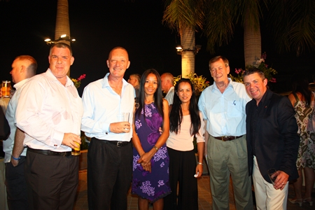 (L to R) Joe Cox, MD of Defence International Security Services, Stuart and Renu McKenzie, Joy Hughes, Rod McNeil from RodMcNeil.TV and Paul Strachan.