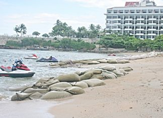 Senior Department of Marine and Coastal Resources officials state that erosion of local beaches has accelerated, as shown here at the Dusit curve in North Pattaya. More studies are being done, when many feel it is time for action instead of words.