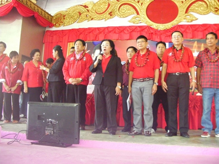 "Local red shirt leaders take to the stage to ""teach"" their political platform."