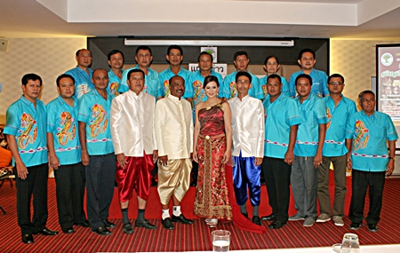"(Center, left to right) Takientia Deputy Mayor Arun Nuandet, Takientia Mayor Manop Prakorbthum, former Miss Thailand World Panadda ""Boom"" Wongphudee, and Takientia Deputy Mayor Mitchai Prakorbthum announce the event surrounded by staff."