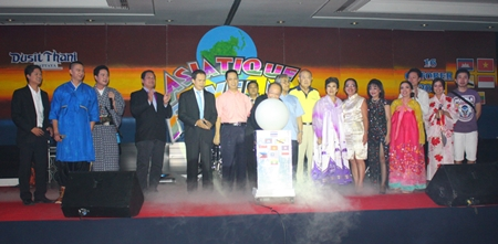 Executives kick off this year's Dusit Thani Hotel staff party.