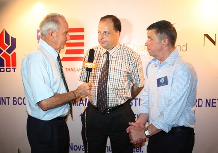 Dr. Iain Corness (left) and Paul Strachan (right) interview BCCT Executive Director Greg Watkins for PMTV.