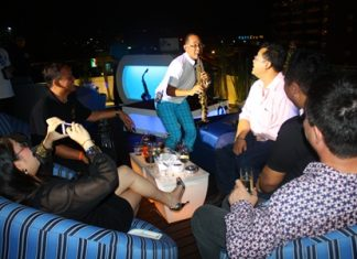 "Aht Gunlayanakupt, winner of Thailand's Got Talent in 2011 and known as the ""Kenny G of Thailand,"" entertains guests at dusitD2 baraquda's Sunset Lounge."