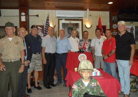 Marines present at the birthday celebration (L to R) MGySgt Rad Mays, GySgt Billy Goodman. L/Cpl Wayne Radoway, 1st Lt Kevin Watkins, 1st Lt Dick Kaleta, Capt Donald Ratcliffe, MSgt Ronald Hunter, Sgt James Jones, Cpl Joe Ferral and Cpl Gene Berisford.