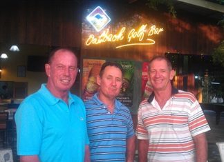 Wednesday podium placers: Paul Bourke (left), Jim Peachey and Greg Hill.