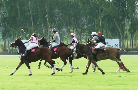 Fast paced equestrian action and colourful attire are the hallmarks of Queen's Cup Pink Polo.