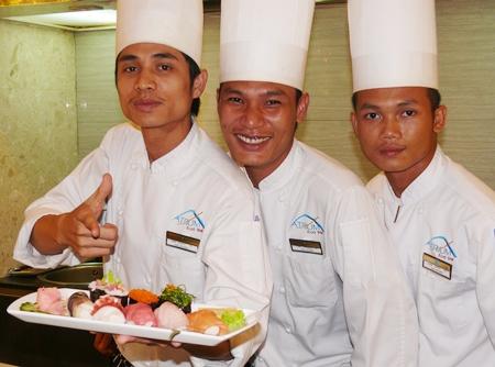 Atrium Japanese chefs.