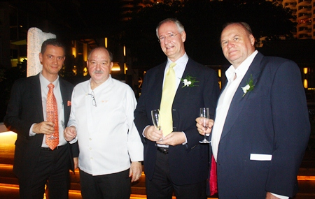 (L to R) General Manager Christoph Voegeli, Executive Chef Walter Thenisch, Dieter Reigber, president of the Rotary Club of Pattaya-Jomtien and Dr. Jan Chris Von Koss.