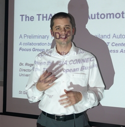 Dr. Roger Moser gives his presentation at the November meeting of the Automotive Focus Group.
