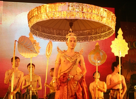 "The Udom Bay Chonburi Yukolthum Performing Arts team gives a moving performance of an ancient Loy Krathong celebration, known in the Sukhothai era as ""Jomprieng""."