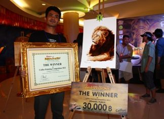 Sombun Unnpracha won 30,000 baht in the general-public category of the painting with coffee contest.