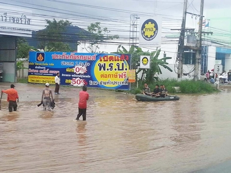 Flooding in this area of Sattahip caused cancellation of their Loy Krathong festivities this year.