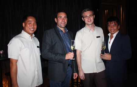 (L to R) Hilton Pattaya Marketing Communications Manager Dhaninrat Klinhom, General Manager Philippe Kronberg, Food & Beverage Manager Simon Bender, and Terry Terayama.