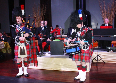 No night of Scottish culture would be complete without bagpipes, shown here echoing throughout Mantra.