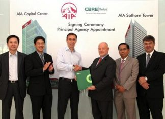 Ron van Oijen (3rd from left), Chief Executive Officer of AIA Thailand, presents the appointment contract to David Simister (3rd from right), Chairman of CBRE Thailand, alongside Anucha Laokwansatit (2nd from left), AIA Thailand's General Manager and Chief Investment Executive and executives from CBRE at AIA Towers on Surawongse Road.