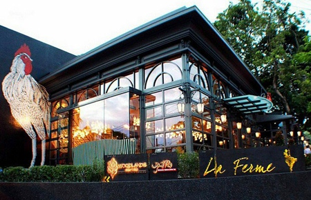 La Ferme French restaurant attached to the Woodlands Resort.