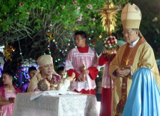 Bishop Emeritus Lawrence Thienchai Samanjit celebrates mass at St. Nicholas Church.