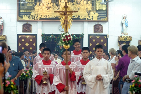 Catholics celebrate mass at St. Nicholas Church.