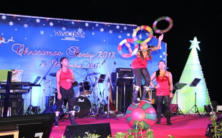 Amazing acrobatics are part of the Christmas show at Dusit Thani Hotel, Pattaya.