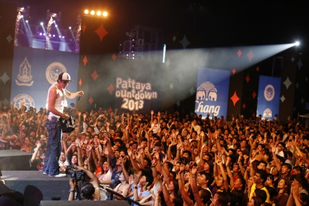 Thousands of fans crowd the stage to see their favorite star, J Jetrin on New Year's Eve.