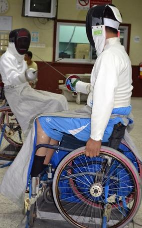 Wheelchair fencing.