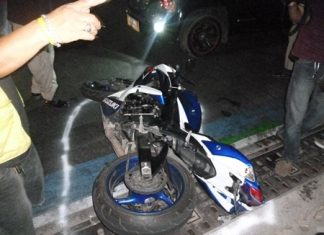 A woman was killed when the driver of this motorcycle lost control and crashed. She was not wearing a helmet.