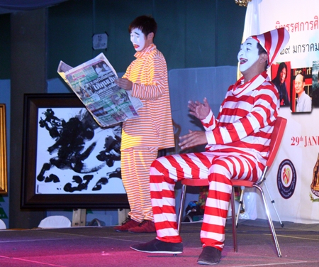 Clowns perform during the press conference announcing the upcoming Royal Exhibition Honoring HM the King.