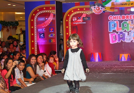 This future international model struts the latest in children's wear during the fashion show at Central Festival Pattaya Beach.