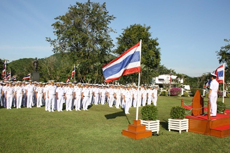 Vice Adm. Chainarong Charoenrak leads officers and sailors in celebrations for the Sattahip Naval Base's 90th anniversary.