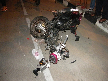 There isn't much left of the Yamaha Fino after it hit a Honda Accord on the 3rd Road overpass near Bali Hai.
