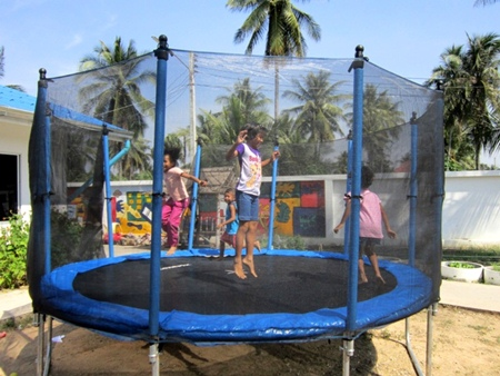 A strong trampoline for safety.
