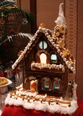 A beautiful gingerbread house on display.
