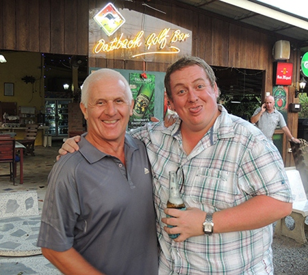 Steve Plant (left) with Mark McDonald, Friday's low gross winner with 75.