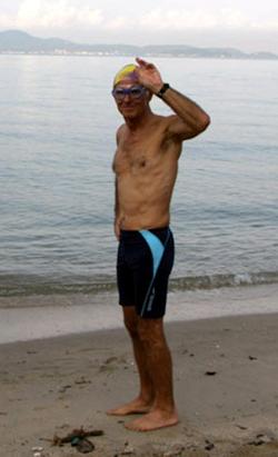 Andre prepares for his marathon swim.