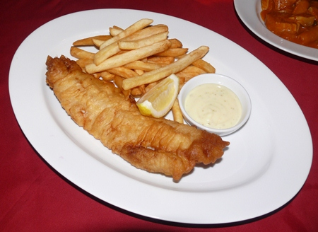 The most popular dish on the menu is fish and chips.