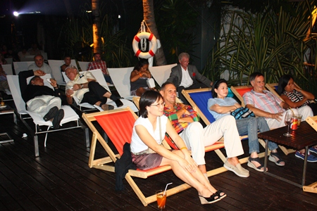 Cinema goers enjoy the first pool-side foreign film festival in Thailand.