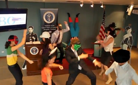 US Embassy staff in Bangkok perform the Harlem Shake.