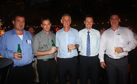 (L to R) Joe Barker-Bennett, Chairman of Eastern Seaboard BCCT Group and Managing Director of JMBB Consulting Co. Ltd.; Ken Brookes, Jerry Stewart, David Wilkinson, MD of Wood Group Heavy Industrial Turbines (Thailand) Ltd. and Joe Cox, Managing Director of Defence International Security Services.