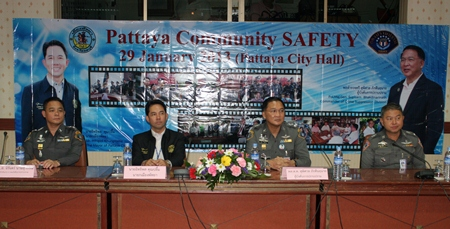 The panelists (l-r) Pol. Col. Niran Namsuwan, chief of the CSD's subdivision 3, Mayor Itthiphol Kunplome, Pol. Maj. Gen Supisarn Bhakdinarinath, Commander of the Crime Suppression Division and Pol. Maj. Gen. Niphon Chaorenpol, Chief of Consumer Protection Police Division.