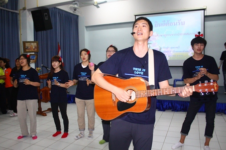 Students from Korea's Pyeoung Taek Church perform for the students at Pattaya School No. 7.