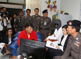 Alleged serial rapist Petty Officer 1st Class Anek Duangfoong (seated, center) has been arrested.