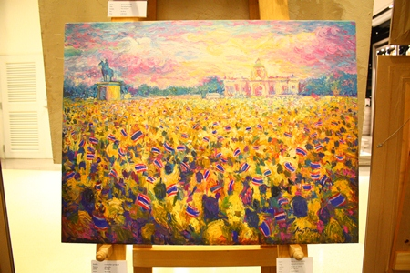 Oil painting expressing the history of Thai citizens travelling to communities to express loyalty to HM the King on his 60th coronation anniversary.