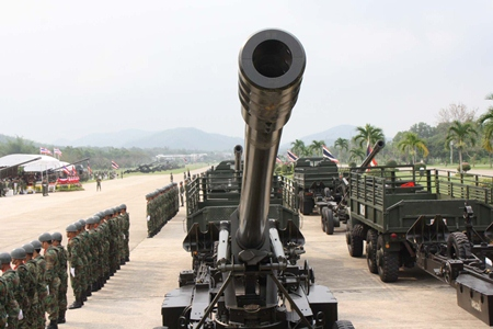 The Royal Thai Navy's Air and Coastal Defense Command parades its anti-aircraft weapons.