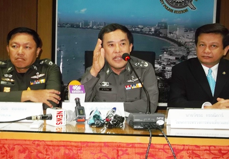 Royal Thai Police advisor Gen Wuthi Liptapanlop addresses the media in regards to the latest crackdown on crime.
