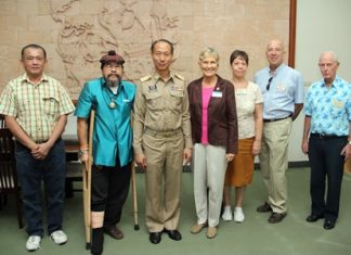 PCEC Chairman and Board Members meet the Governor of Chonburi Province (left to right) Panajut - Owner of the Thai Resort Pattaya; Sermsakdi - Honorary Member; Governor Wichit Chatpaisit; Pat Koester - Chairwoman; Judith Edmonds - Club Treasurer, and Board members Roy Albiston and Richard Smith.