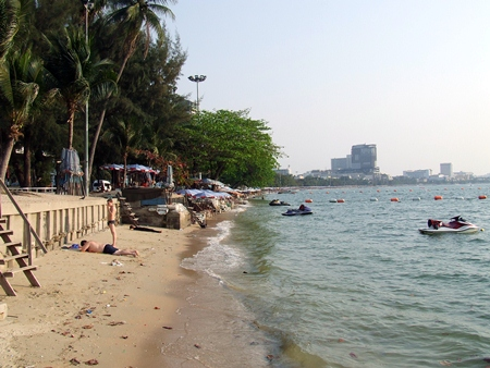The present state of Pattaya Beach where erosion has practically left the beach with no sand at high tide.