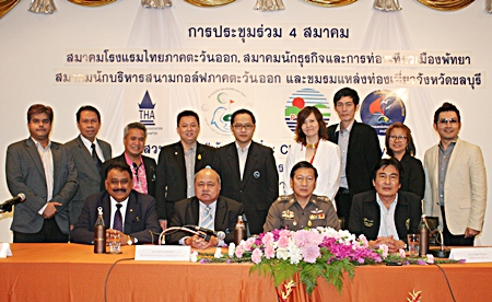 Front row (L-R) Pratheep Singh Malhotra, MD of Pattaya Mail Media Group; Borisut Prasopsup, director of the Tourism Authority of Thailand's eastern region; Police Maj. Gen. Sunchai Chaiamporn, Deputy Commissioner of Provincial Police Region 2 and Ronakit Ekasingha, deputy mayor of Pattaya City. Back row (L-R) Suwanthep Malhotra, deputy MD of Pattaya Mail Media Group; Sompat Jantawan, GM of Tsix5 Hotel; Kullatorn Mesommonta, president of the East Coast Golf Courses Management Association; Komkrit Prasitnarit, committee member of the PBTA; Attapol Wannakit, TAT director Pattaya office; Bundarik Kusolvitya, president of the THA Eastern Chapter; Sanpech Supabowornsthian, GM of Long Beach Garden Hotel & Spa; Panida Kanaesaen, Secretary of Chonburi Attraction Club and Prayuth Thamdhum, GM of The Montien Hotel Pattaya.