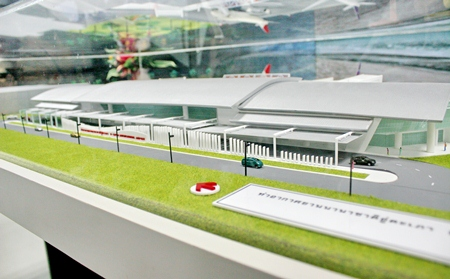 A model of the new terminal building at U-Tapao-Rayong Pattaya International Airport. This is a joint project of Pattaya City and the Royal Thai Navy to develop it into a full-fledged commercial airport.
