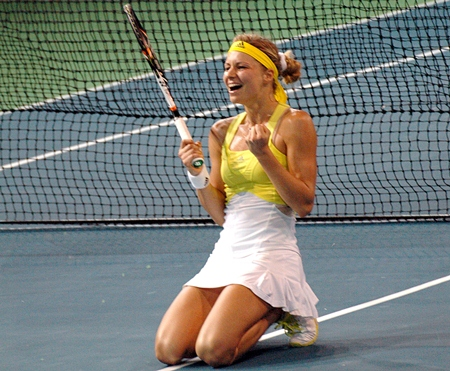 Russia's Maria Kirilenko reacts after winning the singles final at the 2013 PTT Pattaya Women's Open.